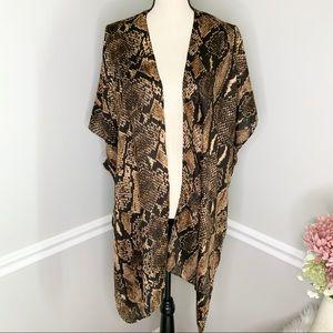 Tops - NWT SNAKESKIN Brown Long Kimono Wrap
